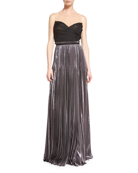 J. Mendel Strapless Pleated Silk Gown With Illusion