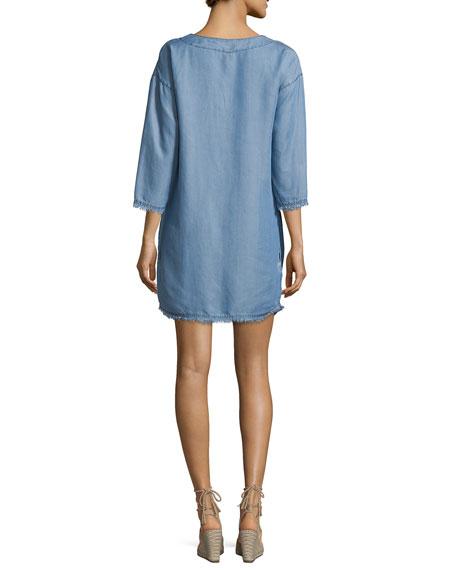 Lace-Up Chambray Coverup Dress