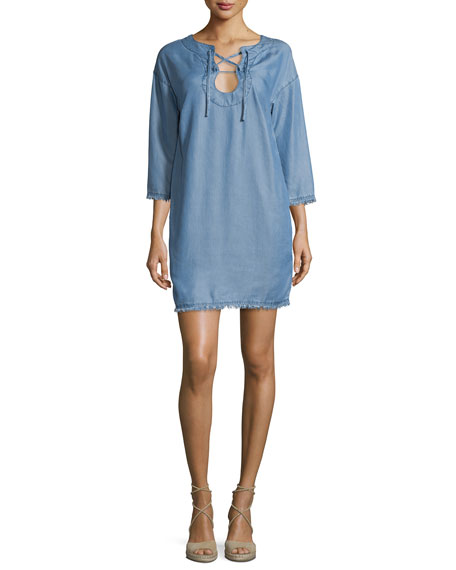 Lace-Up Chambray Coverup Dress