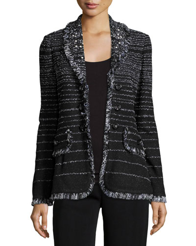 Fancy Fringe Striped Jacket, Black