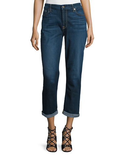 Cropped Rolled-Cuff Straight-Leg Jeans, Dark Blue