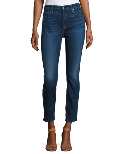 Riche Touch Classic Skinny Ankle Jeans, Medium Blue Denim