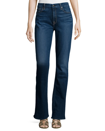Riche Touch Classic Slim Boot-Cut Jeans, Medium Blue