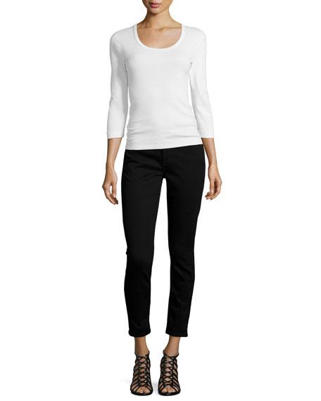 Riche Touch Skinny Ankle Jeans, Black Noir