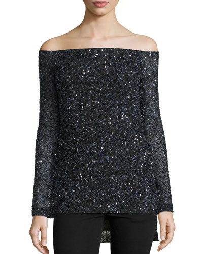 Sequined Off-the-Shoulder Top, Black