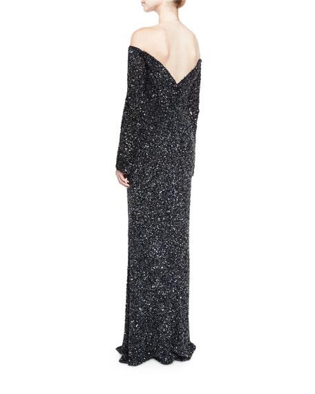 Makenna Off-the-Shoulder Long-Sleeve Gown, Black