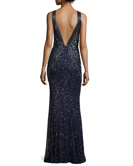 Sequined Sleeveless Halter Gown, Deep Sea