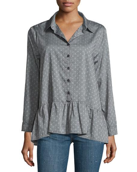 The Great The Drop Ruffle Polka-Dot Oxford Shirt
