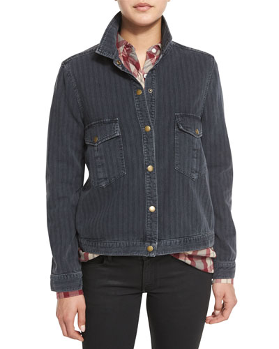 The Striped Denim Shirt Jacket, Black