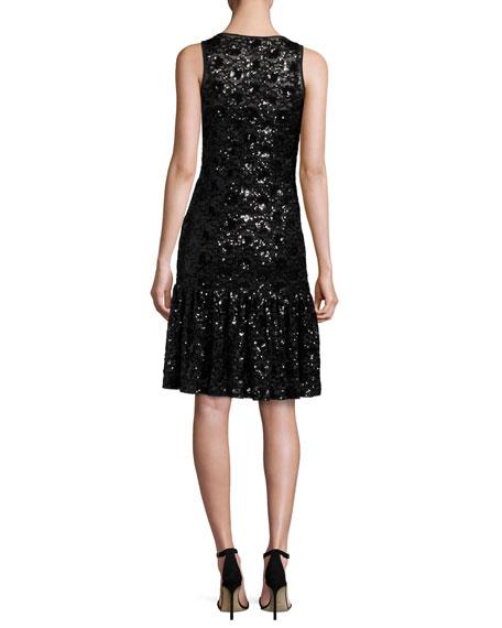 Sleeveless Sequined Lace Mesh Dress, Black