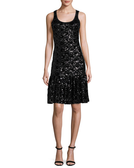 Sleeveless Sequined Lace Mesh Dress, Black