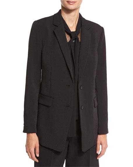 Long Two-Button Blazer, Black