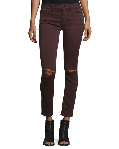 Margaux Ripped Skinny Ankle Jeans, Malbec