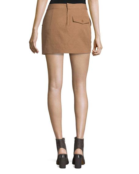 Double-Face Cotton-Blend Mini Skirt, Terra