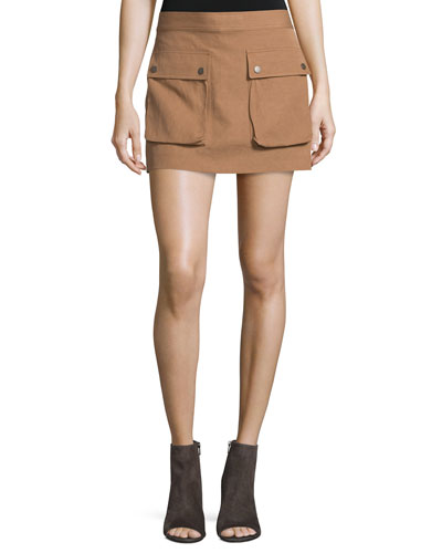 Double-Face Cotton-Blend Mini Skirt, Terra