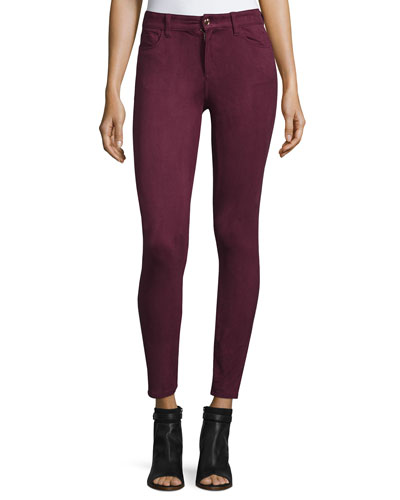 The Icon Faux-Suede Ankle Jeans, Garnet