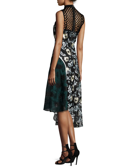 Self-Portrait Asymmetric Lace & Printed Combo Dress
