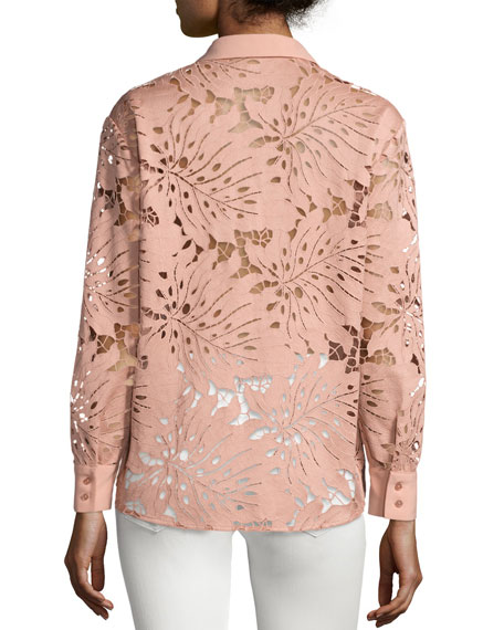 Palm Guipure Lace Long-Sleeve Shirt