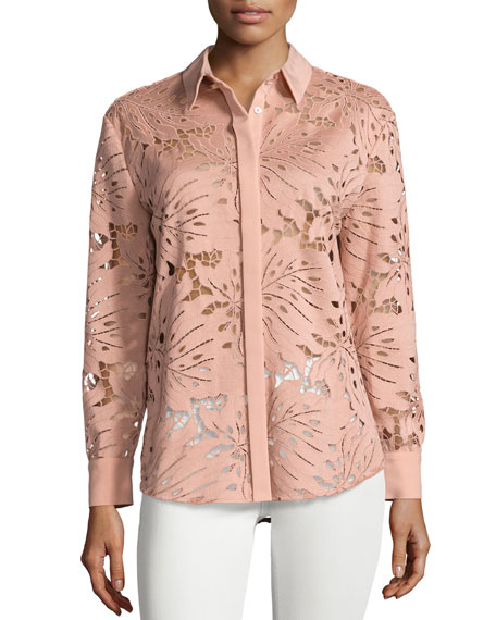 Self-Portrait Palm Guipure Lace Long-Sleeve Shirt