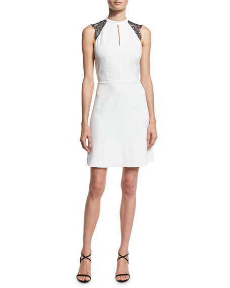 MICHAEL Michael Kors Halter-Neck Lace-Sleeve Dress, Ecru