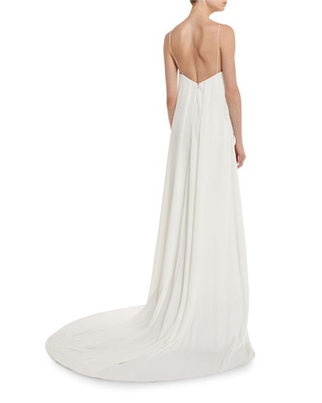 Angelica Guipure Lace Cape-Back Bridal Gown, White