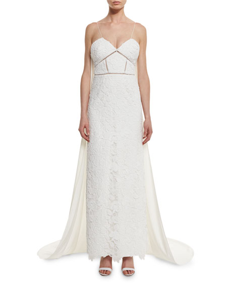 Self-Portrait Angelica Guipure Lace Cape-Back Bridal Gown, White