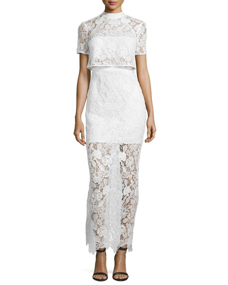 Marcela Guipure Lace Short-Sleeve Bridal Gown, White