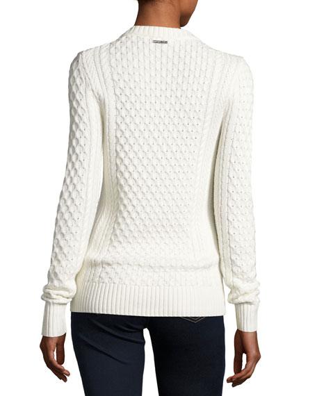 Embellished Cable-Knit Crewneck Sweater, Ecru