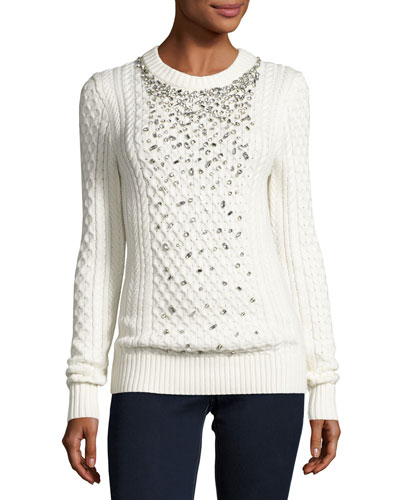 Embellished Cable-Knit Crewneck Sweater, Ecru