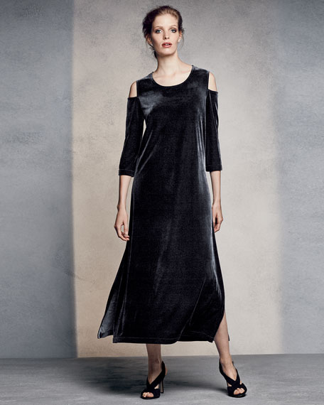 3/4-Sleeve Cold-Shoulder Velvet Maxi Dress, Black, Petite