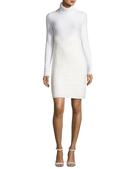 Needle-Punched Lace Sweater Dress, Derby