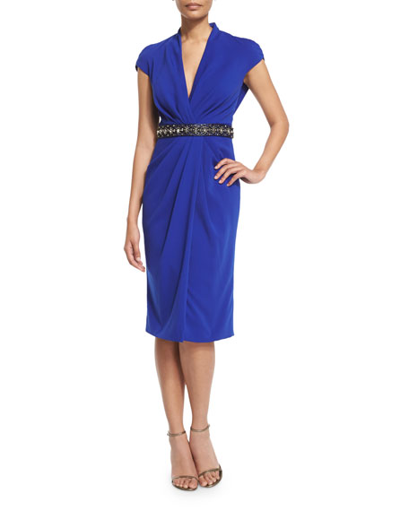 Badgley Mischka Beaded-Waist Draped-Front Cocktail Dress, Sapphire