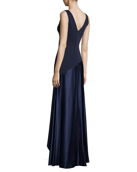 Sleeveless Jersey & Satin High-Low Gown, Twilight