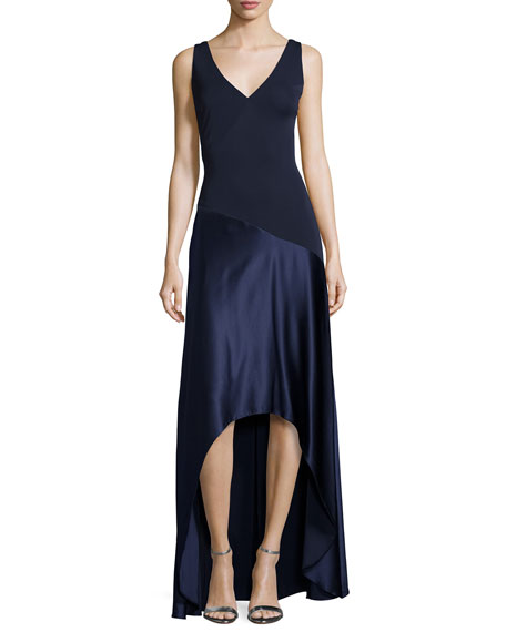 Aidan Mattox Sleeveless Jersey & Satin High-Low Gown,