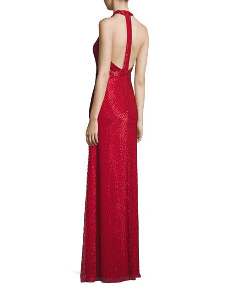 Sleeveless Beaded Column Gown, Red