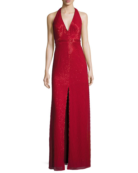 Aidan Mattox Sleeveless Beaded Column Gown, Red