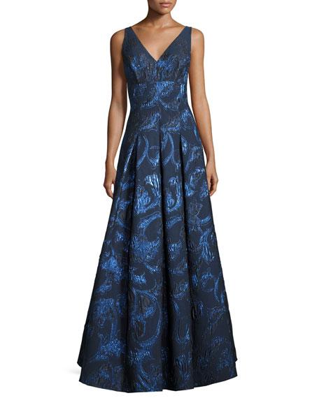 Aidan Mattox Sleeveless Pleated Metallic Brocade Gown,