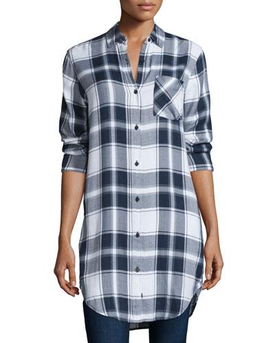 Bianca Plaid Long-Sleeve Tunic, White/Navy/Fog