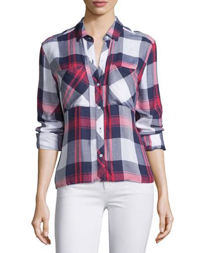 Dylan Plaid Long-Sleeve Shirt, White/Indigo/Blush