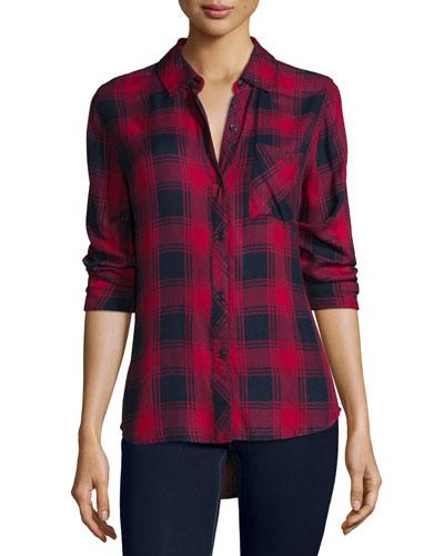 Hunter Plaid Long-Sleeve Shirt, Midnight/Garnet