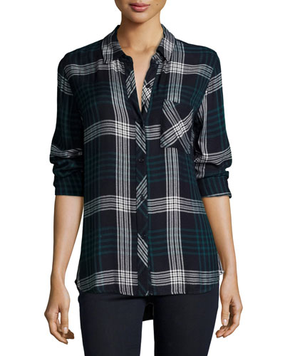 Hunter Plaid Long-Sleeve Shirt, Indigo/Emerald