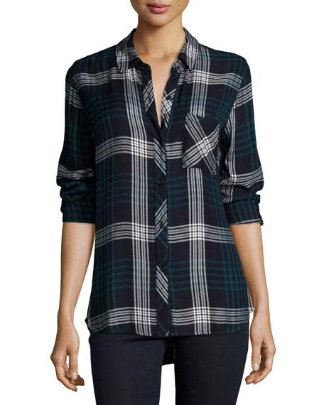 Rails Hunter Plaid Long-Sleeve Shirt, Indigo/Emerald