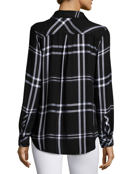 Hunter Plaid Long-Sleeve Shirt, Jet/White