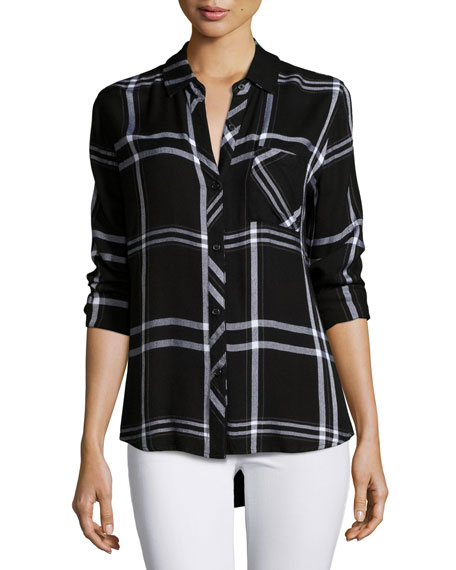 Hunter Plaid Long-Sleeve Shirt, Jet/White