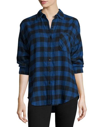Jackson Plaid Long-Sleeve Shirt, Blue/Black Check