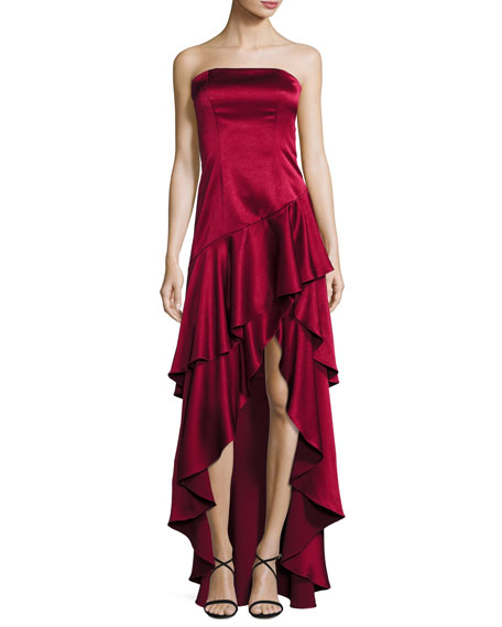 Strapless Tiered Asymmetric Satin Gown, Bordeaux