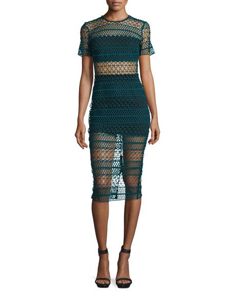 Ben Crochet Two-Piece Illusion Dress, Verde