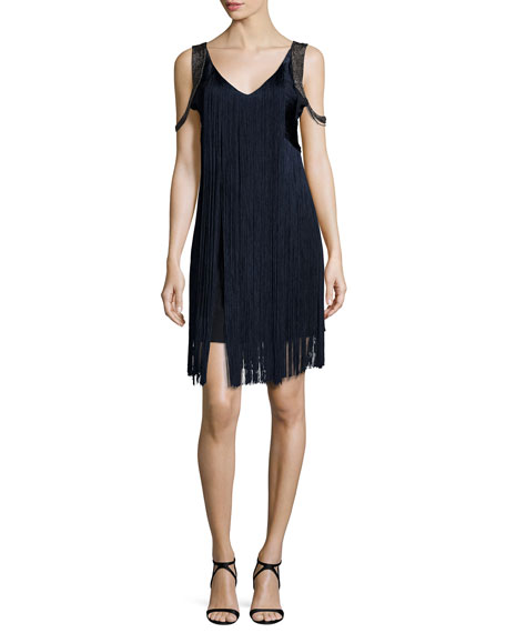 Haute Hippie Sleeveless Fringe Flapper Dress, Dark Midnight