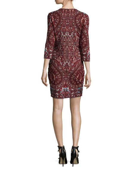 Paisley Embroidered 3/4-Sleeve Dress, Merlot