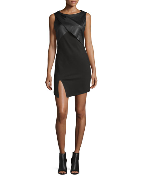 Haute Hippie Sleeveless Dress With Draped Neck, Black
